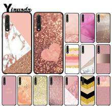 Yinuoda For Huawei P20 Pro Cover Case Gold Pink rose Glitter Cell Phone Cover for Huawei Honor View 10 Mate10 lite P10 P20(China)