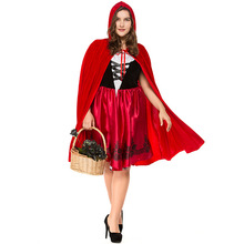 Umorden Halloween Purim Carnival Party Women Little Red Riding Hood Costumes Plus Size S-3XL Fancy Fairy Tale Cosplay Midi Dress