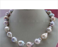 free shipping Hot sell >>>@@ S@@@@@Natural 15mm Multicolor Baroque Edison Reborn Keshi Pearl necklace #f2424!
