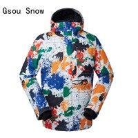 Новый стиль Для мужчин лыжная куртка Gsou Снег ветрозащитный Водонепроницаемый уличная спортивная одежда Пеший туризм кемпинг езда Лыжный с
