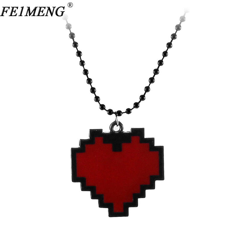 """Anime Pixels Heart Necklace Undertale cosplay of Frisk - 24"""" Length red heart pendant Necklaces For Women Men Fashion Jewelry(China)"""