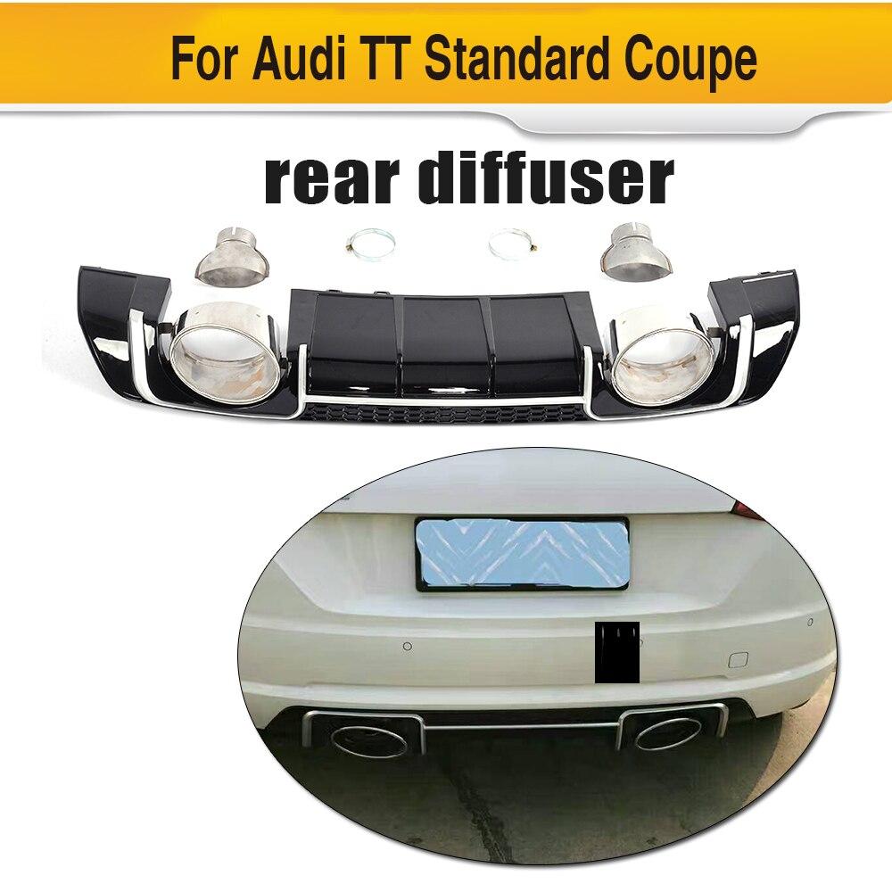 PP гонки заднего бампера спойлер диффузор с выхлопной для Audi TT Стандартный купе 2 двери только 2015 2016 2017 не TTS