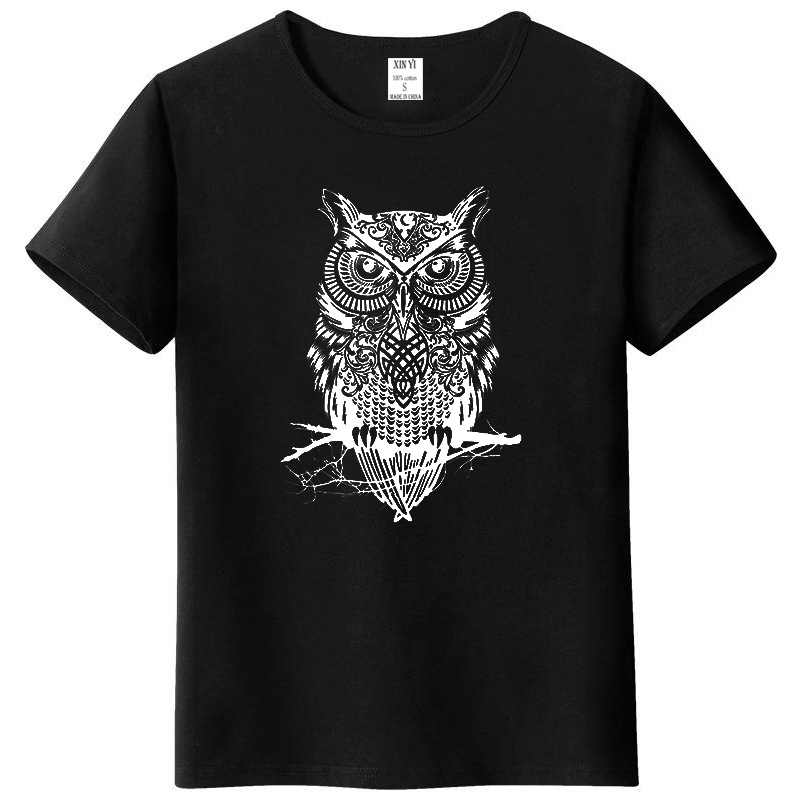 Men's tshirt new fashion summer short sleeve top quality cotton casual short sleeve  o-neck loose OWL printed men T shirt