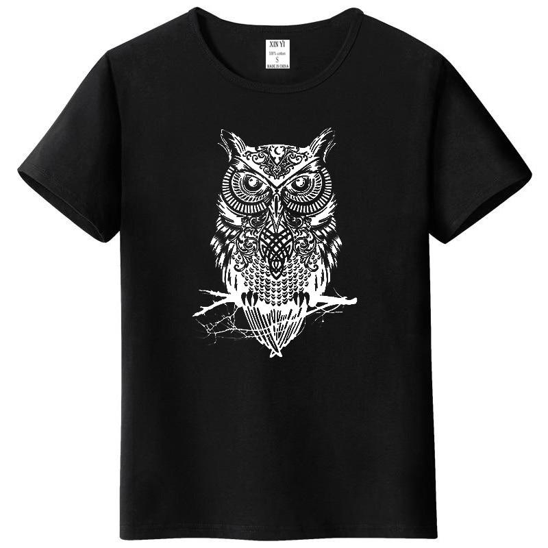 Men's tshirt new fashion summer short sleeve top quality cotton casual short sleeve o-neck loose OWL printed men   T     shirt