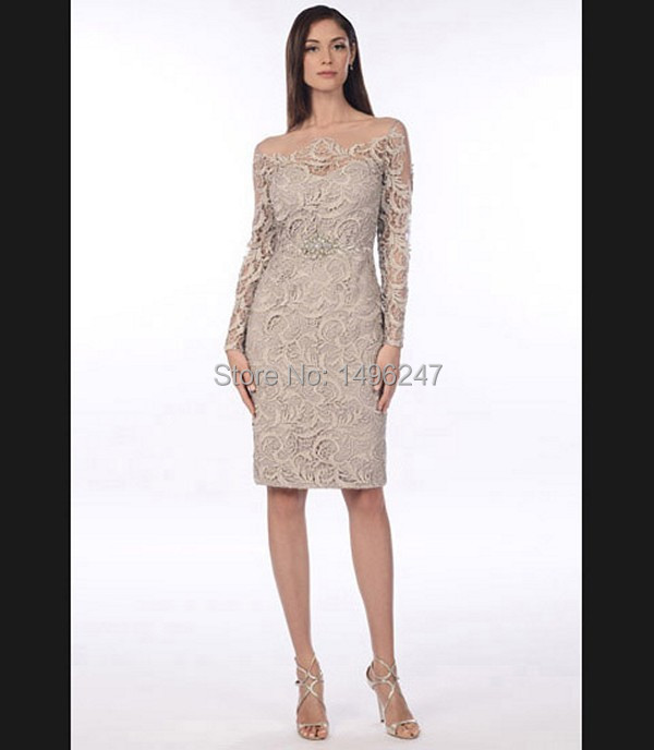 Best Sale Lace Short Tight Evening Dresses With Long Sleeve Sheer ...