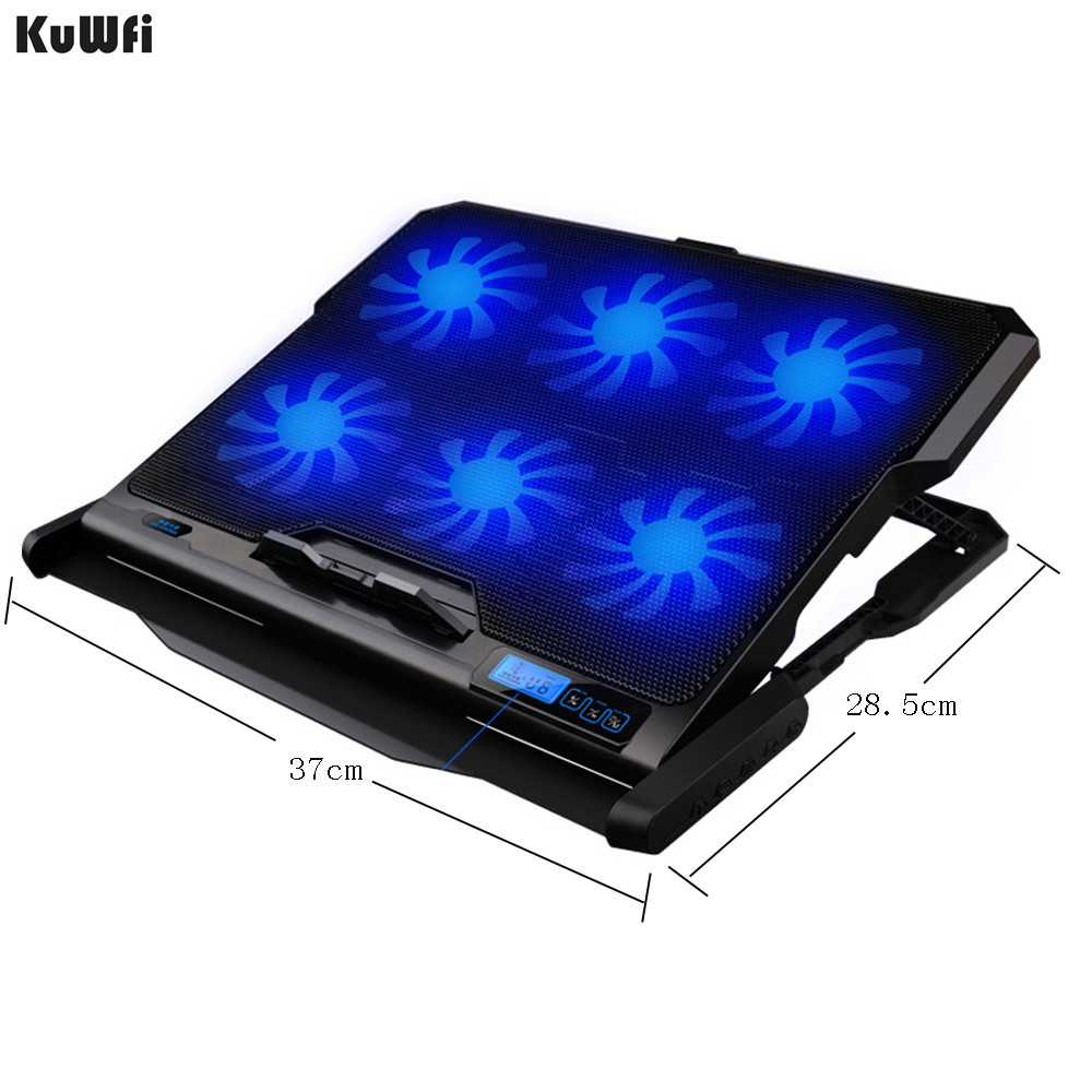 Image 2 - Laptop Cooler With 2 USB Ports And 6 Cooling Fans Silent Laptop Cooling Pad Notebook Stand For 12 16 inch fixture For Laptop-in Laptop Cooling Pads from Computer & Office