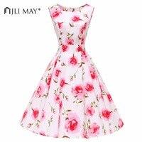 JLI MAY Cotton print floral party dress summer retro vintage formal elegant o neck belted midi sleeveless dresses sundress women