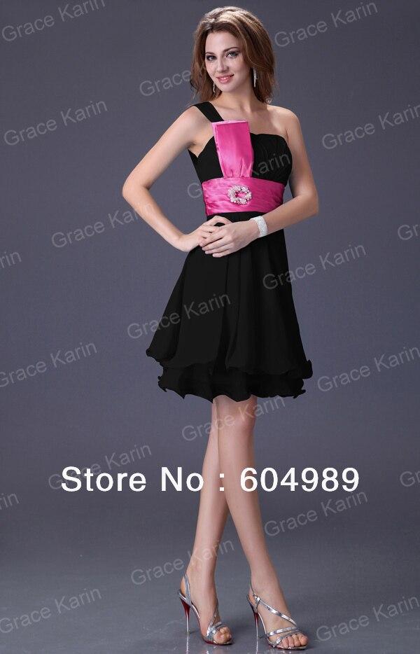 Único One Shoulder Black Cocktail Dresses Inspiración - Vestido de ...