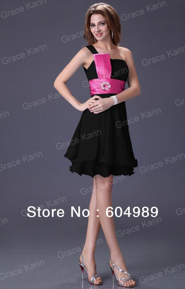 Gracia barata Karin un hombro negro / rosa / rojo / azul / gris de ...