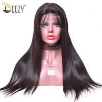 Doozy Pre plucked Natural Hairline Human Hair Wigs 130% 150% Density Remy Brazilian Hair Full Lace Wig