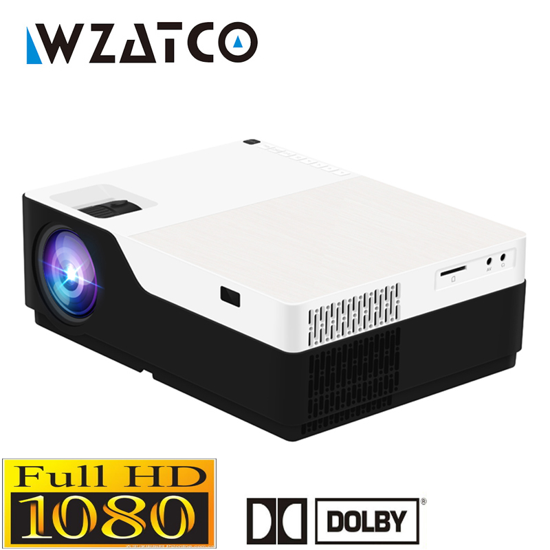 WZATCO 1080 P led full hd vidéo projecteur 5500Lu Android 7.1 support wifi AC3 Beamer Proyector Pour Jeu Film Cinéma Home cinéma