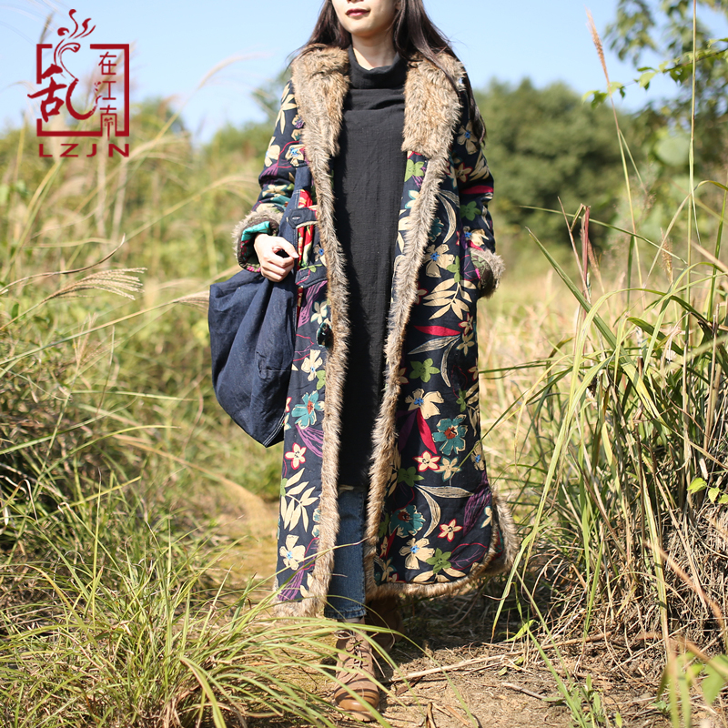 LZJN Single Breasted Autumn Winter Jacket Floral Chinese Cotton Padded Trench Coat Hooded Women Jacket Quilted