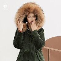 Fansilanen Новое поступление 2017 года Повседневное мода осень/зима вельветовые элегантный дизайн Для женщин мехом длинная куртка женственные же