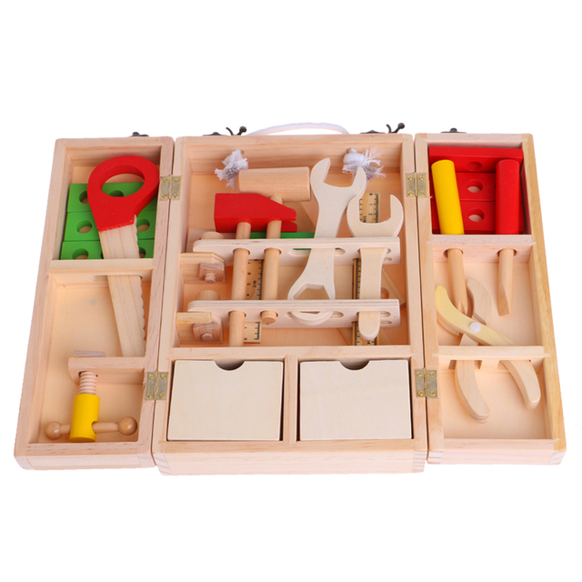 Children's Simulation House Wooden Service Box Tool Repair Kit Funny Toy
