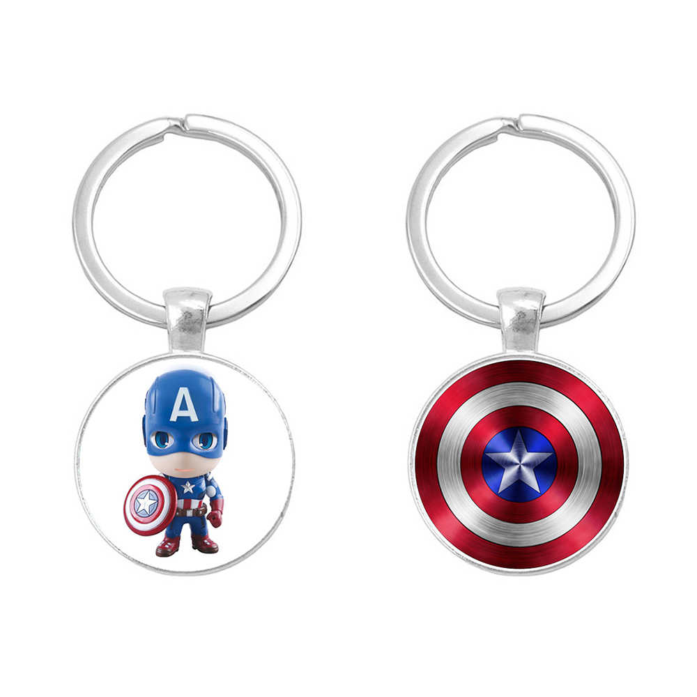 SUTI Avengers Shield alloy Keychain Captain America glass paster Key Ring  Holder Chaveiro Car Key Chain Pendant Jewelry