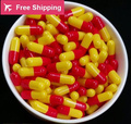 0 #1 #2 #1000 unids/lot. rojo-amarillo color de gelatina dura cápsulas vacías, cápsulas de gelatina huecos, unido o cápsulas separadas