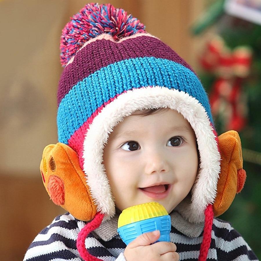 Winter Baby Bear Paw Ear Cover Crochet Hats Warm Boys