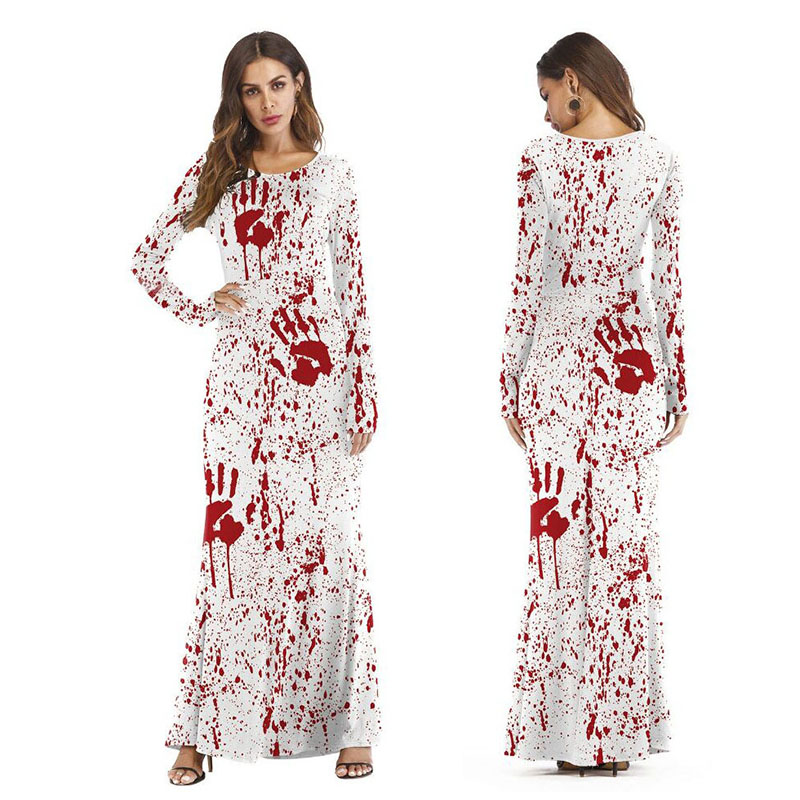 Girls Ladie Female Horror Dress Zombie Costume Scary Bloody Terror Costume Floor-length Halloween Dress Outfit Costume For Women