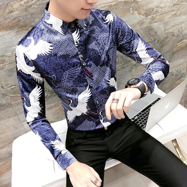dd4c359c0a314 2018 Hommes Imprimé Chemises À Manches Longues Chemises Hommes Chinois  Style Floral Chemises Grue Bleu Robe