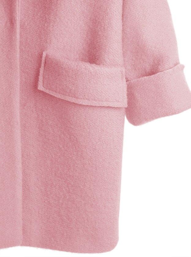 Cachemire Manteau Filles 2018 Mélange Hiver Lâche Rose Veste Automne Pardessus Mode New Outwear Dames Femmes Casual Laine De 7yf6bg