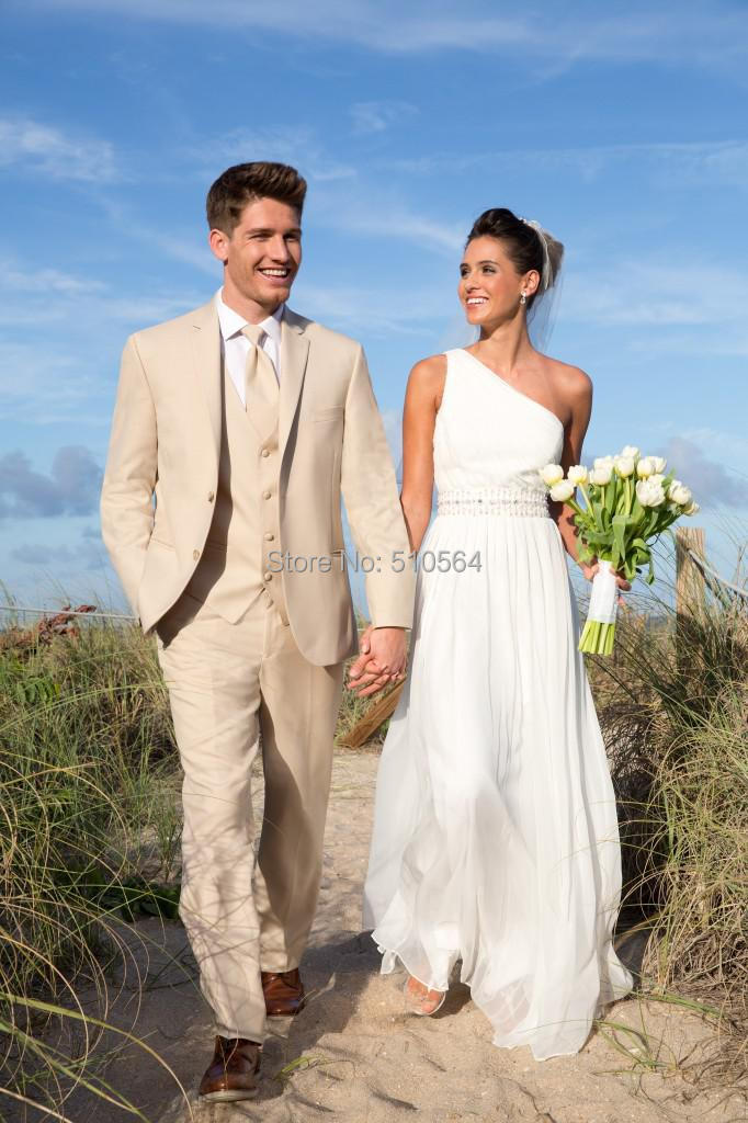 Custom made men suit beige color notch lapel Wedding Groom ...