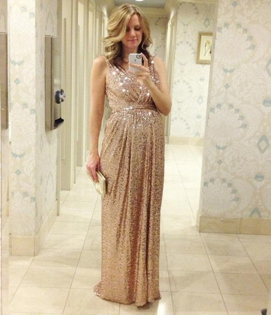 2016 Bling Rose Gold V Neck Sequined Backless Plus Size Long Beach  Bridesmaid Bridal Party Gowns dress 10a114010dab