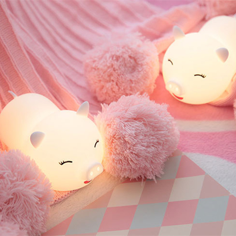 Touch Sensor Colorful Pig LED Night Light Cartoon Silicone USB Rechargeable Bedroom Bedside Lamp For Children Kids Baby Gift