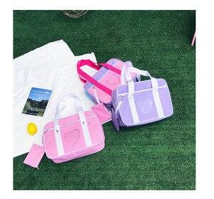 Image 4 - Bolso escolar de nailon con diseño de corazón japonés para mujer, bolso grande de hombro con diseño de uniforme para chica, 2018