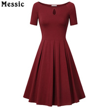 Messic Women Dress Boat Neck Key Hole Short Sleeve Sexy Party Vestidos Ruched Wear To Work Solid Gowns Plus Size Vintage