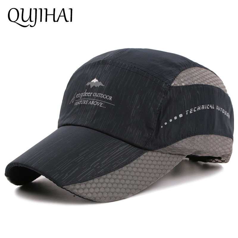 QUJIHAI Summer Mesh Cap Sun Hat Shade Fishing Baseball Cap Men Sports Snapback Caps Casquette Homme 35colors silver gold soild india scarf cap warmer ear caps yoga hedging headwrap men and women beanies multicolor fold hat 1pc