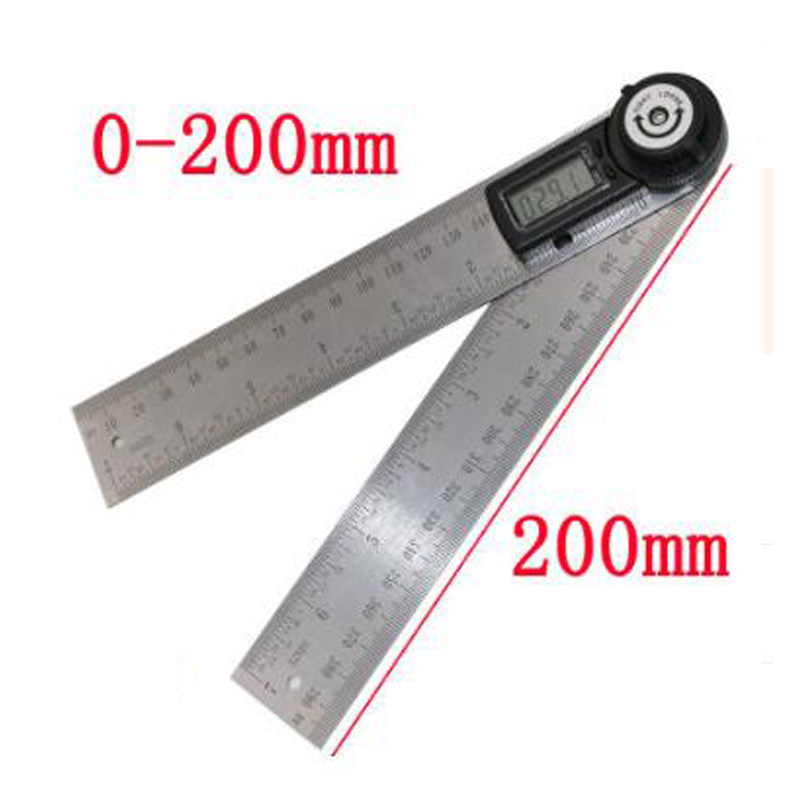 2 in 1 digital angle ruler universal goniometer electronic protractor 360 degree 200mm digital ruler digital display angle ruler in Protractors from Tools