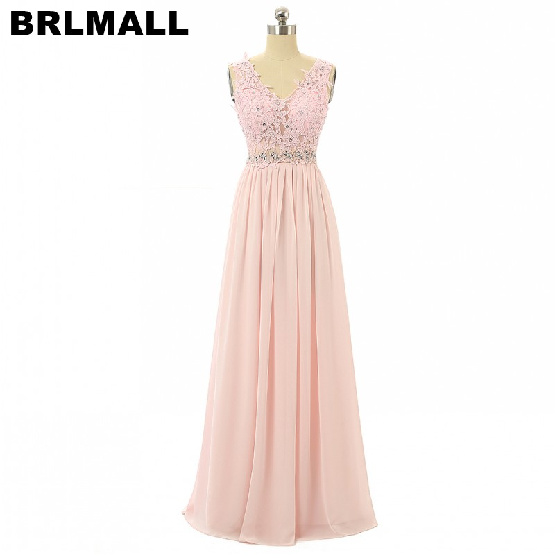 BRLMALL Fashion Pink Lace Appliques   Prom     Dress   Sexy v neck Beaded Party   Dress   A-Line Floor Length Backless Long Evening   Dresses