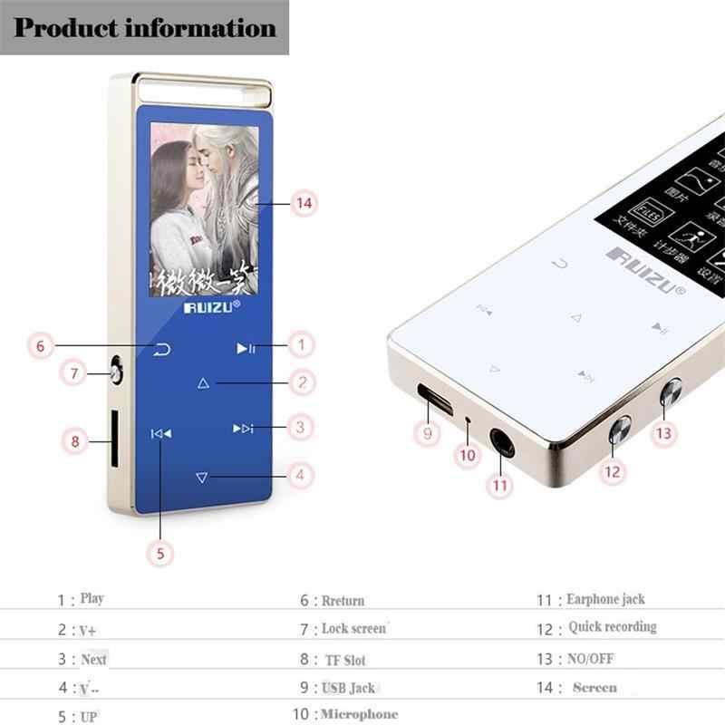 Оригинальный RUIZU D01 bluetooth MP3 плеер 8 GB Сенсорный экран 1,8 дюйма Диктофон FM Электронная книга часы видео USB MP3 музыкальный плеер