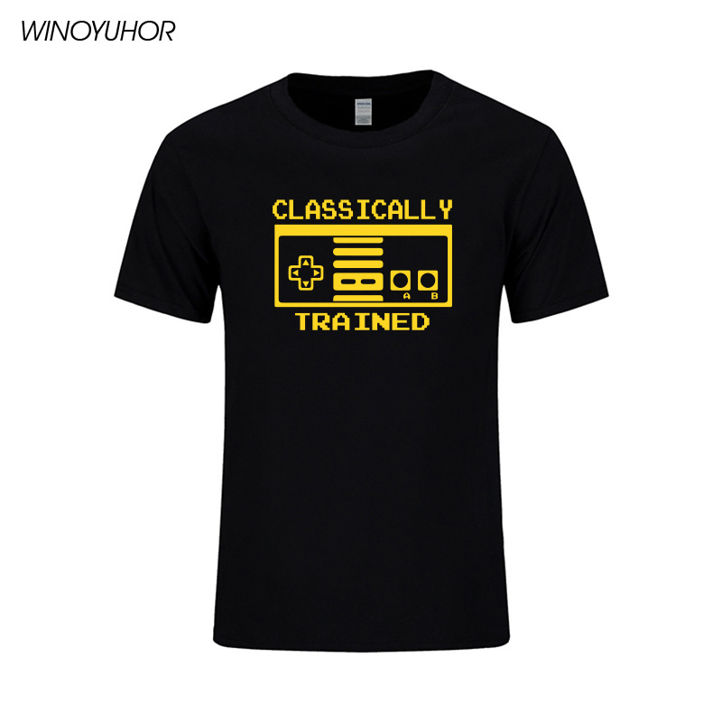 Classically Trained Video Game Controller Mens T Shirt Summer Fashion Cotton Tee Shirt Funny Printed Tops Tees High Quality