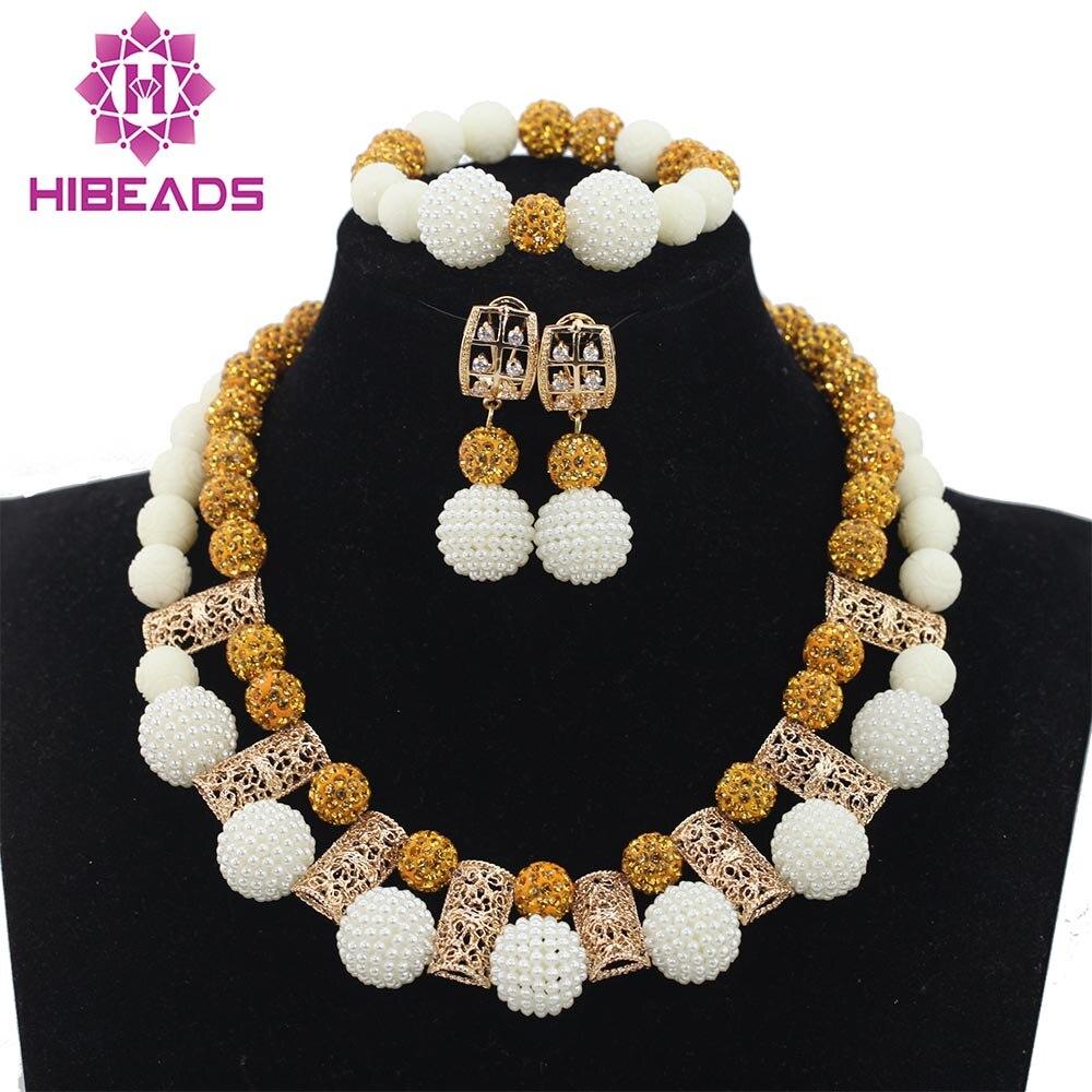White Ball African Jewelry Sets Nigerian Wedding Jewelry Sets African Gold/White Coral Beads Jewelry Set Free ShippingABH004