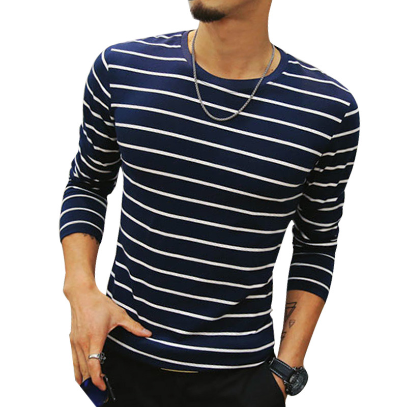2017 mens t shirts striped fashion o neck slim fit long for Best slim fit mens t shirts