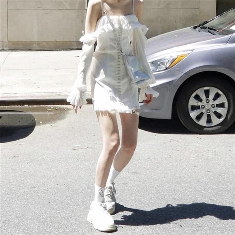 2019 Slash Neck Sexy Strapless Row Buckle Lace Wrap Slim Straight Women Summer Short Dress