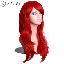 Similler 70cm Kinky Curly Red Black Purple Cosplay Wigs font b Women b font Long Synthetic