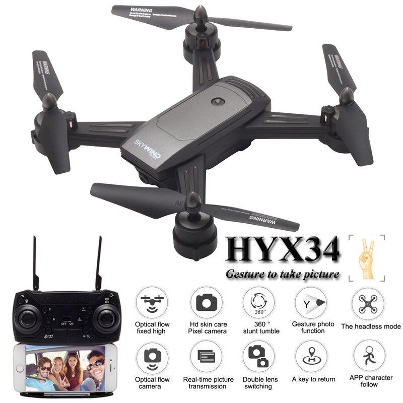 HYX34 Dron Mini Drones avec caméra Selfie HD Quadcopters RC hélicoptère Quadrocopter télécommande jouets pour enfants VS Syma x5c