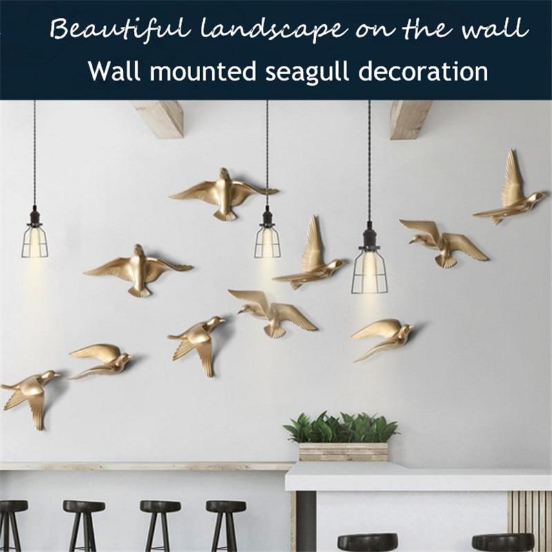 European Creative Resin Wall Hanging Seagull Bird Stereoscopic Wall Decoration Living Room Veranda Sofa Tv Background Decoration