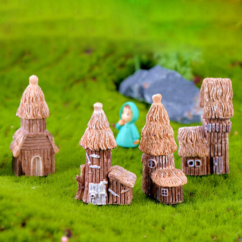 Resin Miniature House Craft Micro Landscape Ornament For Miniature Bonsai Decoration Fairy Garden Figurine