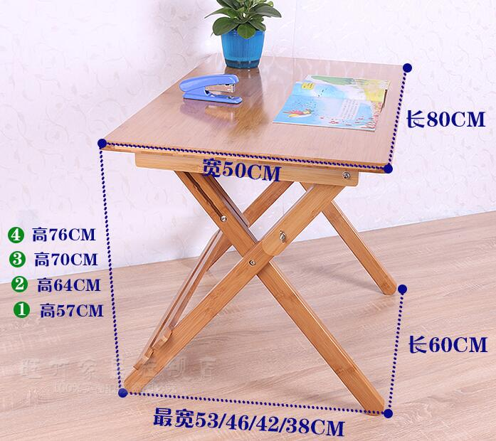 купить 80*50*(57-76)CM Height-Adjustable Children Study Table Folding Bamboo Writing Desk Student Learning Table Without Chair по цене 12584.3 рублей