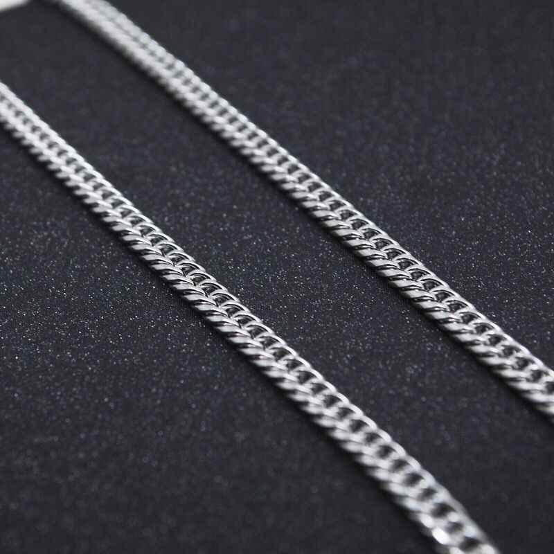 Mxgxفام 50/60/70/80 سنتيمتر الأبيض طويل فيجارو القلائد مجوهرات 4 مللي متر للرجال 316L التيتانيوم الصلب لا تتلاشى