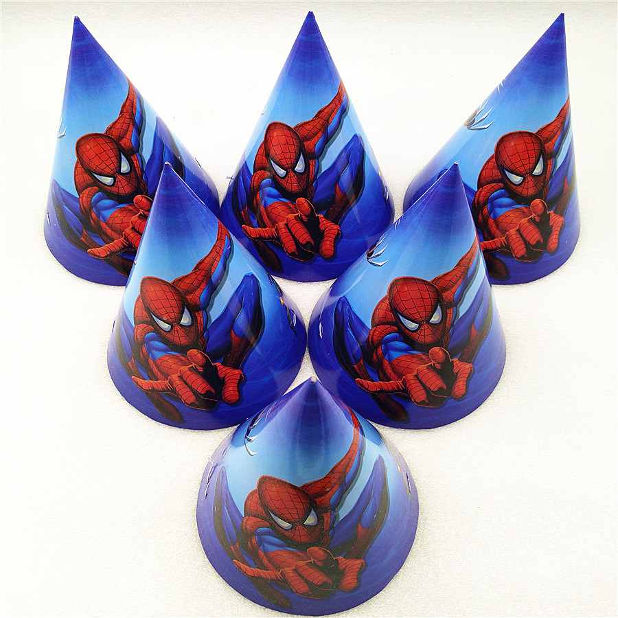 6pcs Spiderman Birthday Party Supplies Paper Hats Caps For Baby Shower Kids Cartoon Superhero Party Decoration Festival Favors in Party Hats from Home Garden