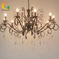 -Estilo europeu de luxo lustre de cristal Villa sala lustre de ferro forjado do vintage jardim lustre restauran