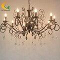 De estilo europeo araña de cristal de lujo salón Villa araña de hierro forjado de la vendimia araña de jardín restauran
