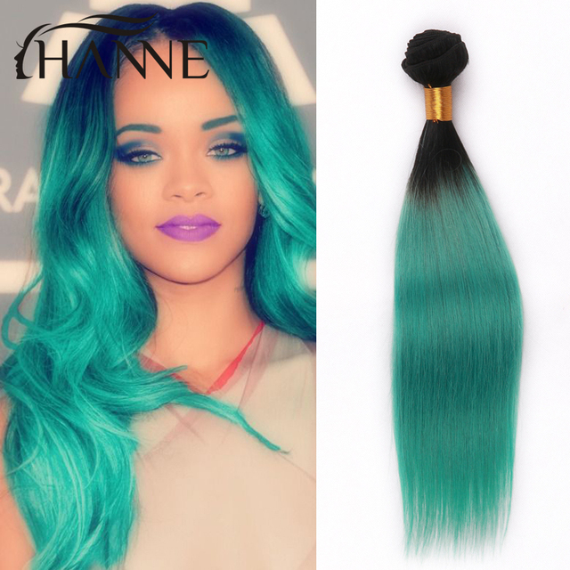 Malaysian Straight Hair Green Ombre Human Hair 4 Bundles Ombre Remy