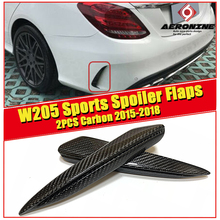 W205 Rear Bumper Spoiler Flaps Air Flow Vent Carbon Fiber 2 Pcs For Benz C180 C200 C250 C63AMG look Splitter Wings 2015-in