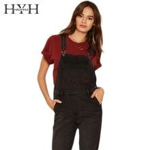 HYH haoyihui сплошной черный Для женщин комбинезон регулируемый ремень кнопка карманы общий комбинезон элегантный дизайн Повседневное джинсовый комбинезон