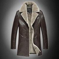 Men Genuine Sheep Leather Fur Collar Jacket Fall Winter Fashion Casual Snow Warm Motocycle Sport Jacket